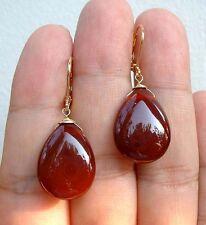 Dangle Gorgeous Red Carnelian Gold Earrings A0119
