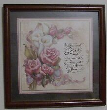 "Homco Home Interior Picture Roses Joan Cole Signed 13.5"" Unconditional Love Vgc"