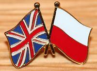 UK & POLAND FRIENDSHIP Flag Metal Lapel Pin Badge Great Britain