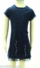 JACADI Girl's Aliquot Navy Blue Short Sleeved Velvet Dress Age: 4 Years NWT