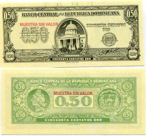 DOMINICAN 50 CENTAVOS 1961 P 90 SPECIMEN UNC