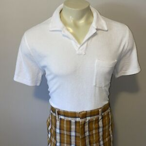 Vtg Terry Cloth Shirt Mid Century Disco Hippy Surf Polo S/S White Mens LARGE