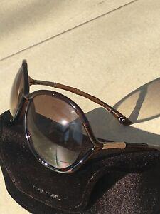 """Authentiques lunettes de soleil marron """"TOM FORD"""" avec étui sunglasses"""