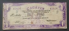 Philippines Currency Money Emergency CIRCULATING NOTE CAGAYAN 1 PESO