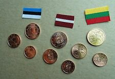 Euro coins of Lithuania Latvia & Estonia - UNC Euro cent coins of Europe + flags