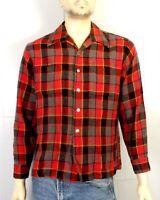vtg 50s 60s Hunting Club Rayon Wool Blend Flannel Shirt Rockabilly Check sz L