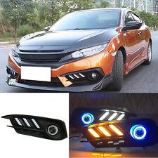 White+Amber DRL+Blue Angle Eye LED Fog Lamp For Honda Civic 10th 2016