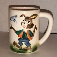 Vintage 50s 60s BUNNY RABBIT 3D Textured Hand Painted Coffee Tea Mug Cup BIRD