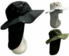 Adults Teenagers Wide Brim Hat Sun Hat w Neck Flap Cover Protect Black/White/Gre