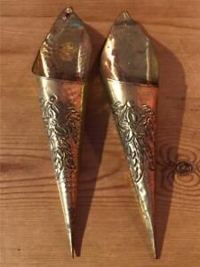 "Pair of Vintage Peerage Brass Wall Pocket Posy Holder Flower Design 10.5"" Long"