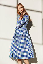 Primark Blue White Check Gingham Summer Dirndl Futed Sleeve Midi Dress Size 8 36