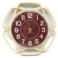 Vintage 1960's Modern Sunbeam Electric Wall Clock Ivory New Quartz Movement