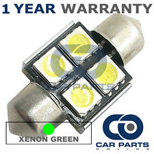 1X GREEN CANBUS NUMBER PLATE INTERIOR 4 SUPER BRIGHT SMD LED BULBS 30MM 11GX1