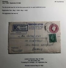 1950 Leeds England Registered Letter Stationary Cover To Munster Germany