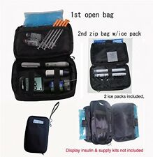 Insulated Diabetic Travel Organizer Cooler Bag Insulin Supply Kit w/ Ice Pack
