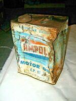 Vintage 50's Light Blue 1 Imperial Gallon Ampol Logo Cap Motor Oil E.P.90 Tin