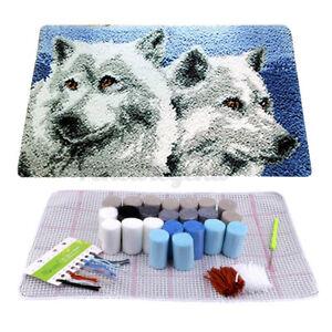 DIY Mat Latch Hook Cushion Kit 3D Stickteppich There Handarbeiten Teppich Wolf D