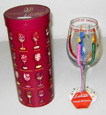 """Near Mint Lolita Hand Painted 15 Oz Wine Glass """"Happy Birthday"""", In packaging"""