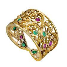 Deluxe 14K Yellow Gold Round Pink Ruby Green Emerald Yemenite Filigree Fine Ring