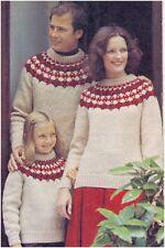 Family Chunky Scandinavian-style Yoke Patterned Sweaters Knitting Pattern 10103