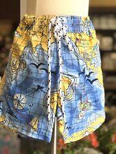 Nwt New Boys Swim Shorts Size 3T Map Print Blue Yellow
