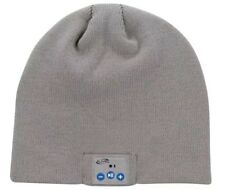 Knit Beanie Hat Grey Wireless Bluetooth Built- In Headphones Mic Home Accessory