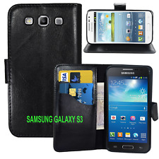 black WALLET Leather Case Phone Cover Samsung Galaxy S3 I9300 UK FREE DISPATCH