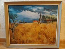 Cuadro al oleo original, paisaje campo de trigo y parroquia savoie