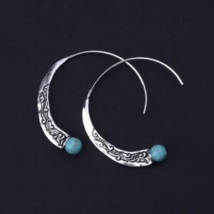 Vintage Boho Ethnic Indian Tribal Silver Turquoise Hoop Style Fashion Earrings