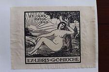 ✒ EX LIBRIS G.C. Mioche - femme nue - curiosa