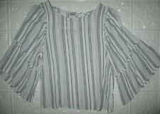 Arizona Jeans Co. Boho Blouse Top 3/4 Flare Sleeves Blue/White Striped Juniors M