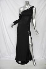 GIANNI VERSACE COUTURE Black SILK Chain-Mesh One-Shoulder Long Dress Gown 8-42