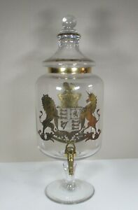 Vintage Glass Spirit Dispenser with Gilded British Royal Coat of Arms
