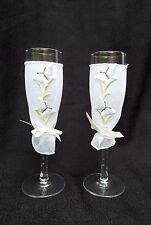 """WEDDING TOAST FLUTES, Butterfly Mesh Sleeve Toasting Champagne Glasses 2 pcs 8"""""""