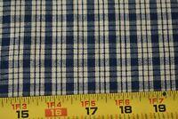 By 1/2 Yd, Vintage, Navy & Tan Plaid Homespun Cotton, P569