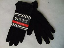 Isotoner Suede Leather Gloves Black MicroLuxe Lined Medium #C177