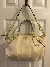 Coach Madison Sophia White Bone Leather Satchel Handbag #15960 w. Dustbag