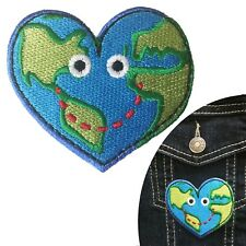 Travel bug iron on patch love environment worlds globe heart smile patches