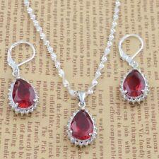 Women  925 Silver Ruby Water Drop Jewelry Set Fashion Necklace Earrings Set