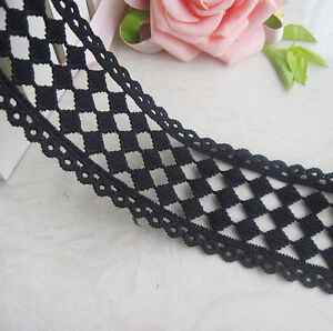 """2 Yards Lace Trim Black Square Hollow Wedding Trim inches 1.96"""" width"""