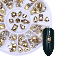 Gold Clear Double-sided 3D Nail Art Rhinestones Marquise Heart Water Drop Wheel