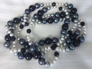 Freshwater Pearl & Agate Long Necklace rrp $300