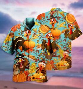Thanksgiving Turkey Short Sleeve Button Hawaiian Shirt All Size