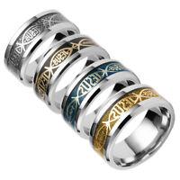 Mens Womens  JESUS Printed Religious Style Titanium Steel Unisex Ring Jewelry Li