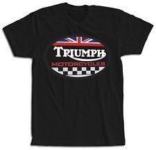 Camiseta motera clásica con logo Triumph negra y blanca manga corta hombre