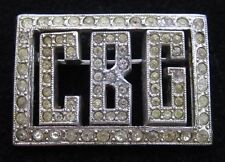 Patented Coro Vintage Art Deco Cbg Initials Monogram Rhinestone Pin Brooch*D479