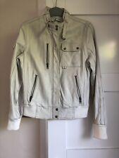 Adidas Off White Soft Leather Jacket Size 10