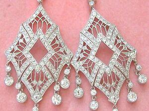 4ct Natural Diamond (I-J) 950 Platinum Chandelier Cocktail Earring SI1 Birthday