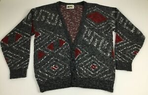 Vintage Le Tigre Size Large Cardigan Sweater Black Gray Red Made in USA Grandpa
