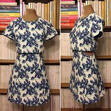 TOPSHOP palm print mini dress side cutouts A-line UK 6-8 US2-4 blue embroidered